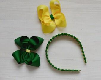 School uniform headband / school uniform hair accessories / uniform hair bow / Green and yellow headband / Plaid headband / back to school