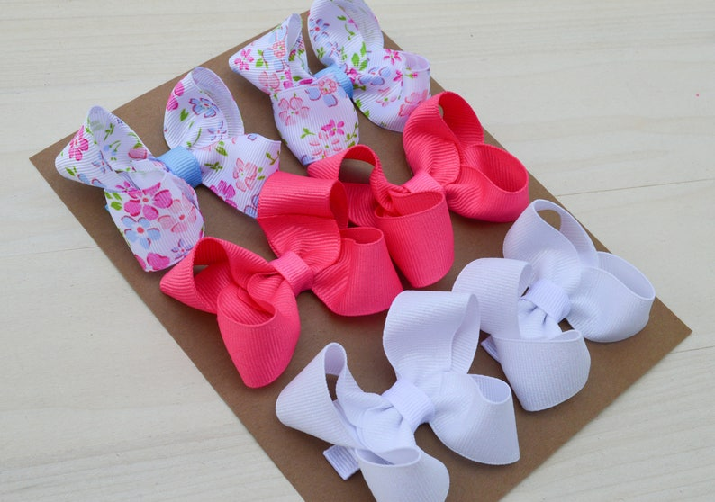 Pigtail bows / summer hair bows / flower hair clips for summer image 0