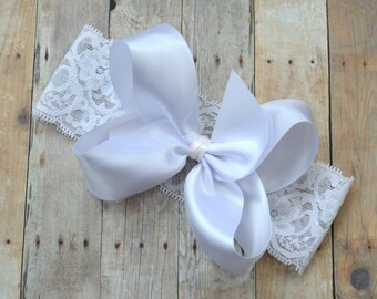 Baptism headband, Christening headband, baby flower girl bow, white satin bow, newborn lace headband, white baby girl bow
