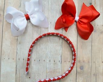 School uniform headband / headband with bow / red and white headband / back-to-school hair accessories / headband with bows