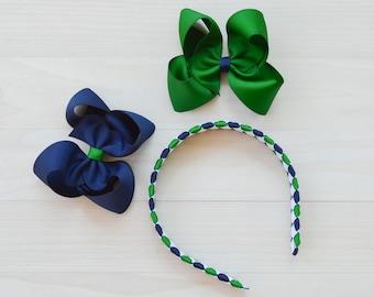 School uniform headband / school uniform hair accessories / uniform hair bow / Green and blue headband / Plaid headband / back to school