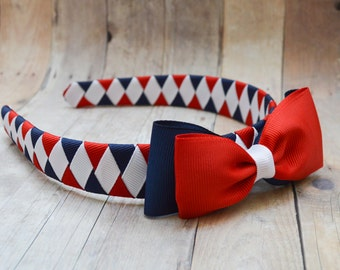 School uniform accessories, Catholic school uniform headband, red, white and navy headband set,  school hair bows
