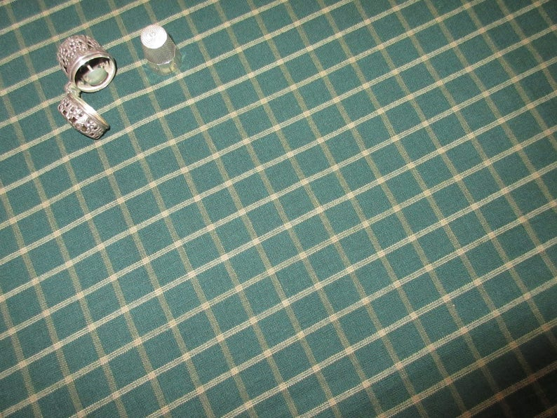 Dunroven House H-4203 Homespun Fabric  Light Blue ~ Cream Small Plaid ~ You Pick