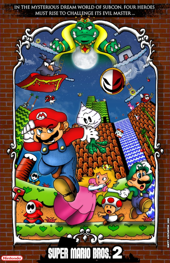 Super Mario Bros 2 Poster Etsy