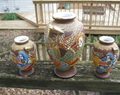 Three Japanese Style Vases, Moriage Gilded Satsuma Vases , Ceramic, One 6 Inch Vase, Two 4 Inch Vases, Possible Reproduction