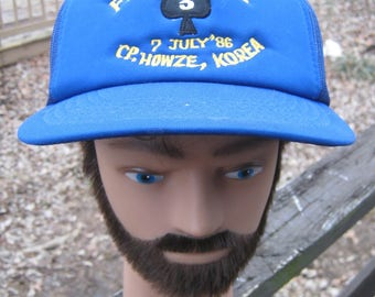 aa7073dc50f837 Howze, Korea Ball Cap, Front Line 3, July 7, 1986, Bright Blue Ball Cap,  Adjustable Baseball Cap, Mesh Back And Sides, Minor Soiling