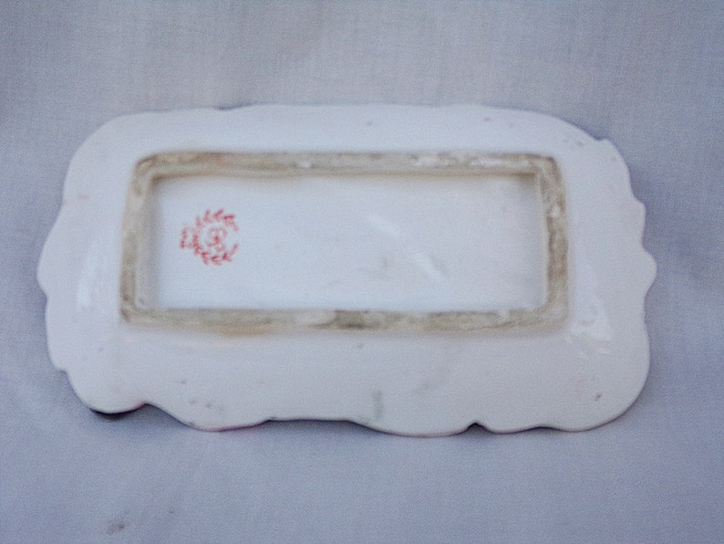 Mid Century Ceramics, Pink And Black Leaf Dish Small Ceramic tray Trinket Dish 6 by 3 14 Inches Wreath Makers Mark