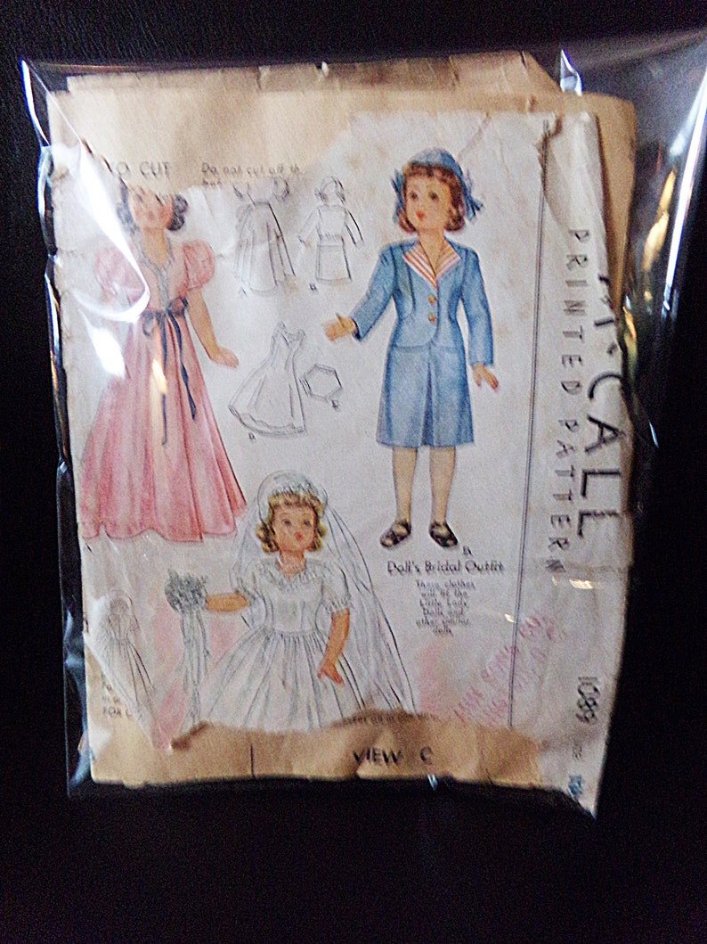 Printed Pattern Size 13 12 Minor Missing Pieces 1940s Sewing Pattern Doll/'s Bridal Outfit Vintage McCall Doll Clothes Pattern #1089