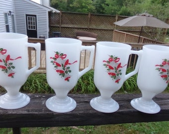 Vintage Christmas Irish Coffee Mugs, Milk Glass, Set Of Four, 8 Ounce Mugs, Footed Mugs, Bells And Holly Design, Holiday Coffee Accessory