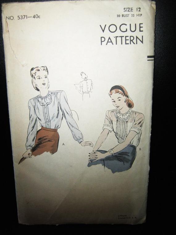 Patrón de Vogue 5371 1950 blusa patrón patrón completo | Etsy