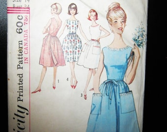 Simplicity Back Wrap Dress, Pattern #5460, Size Misses 14, Complete Pattern, 4 Views, One Piece Dress 1950's , Vintage Sewing Pattern