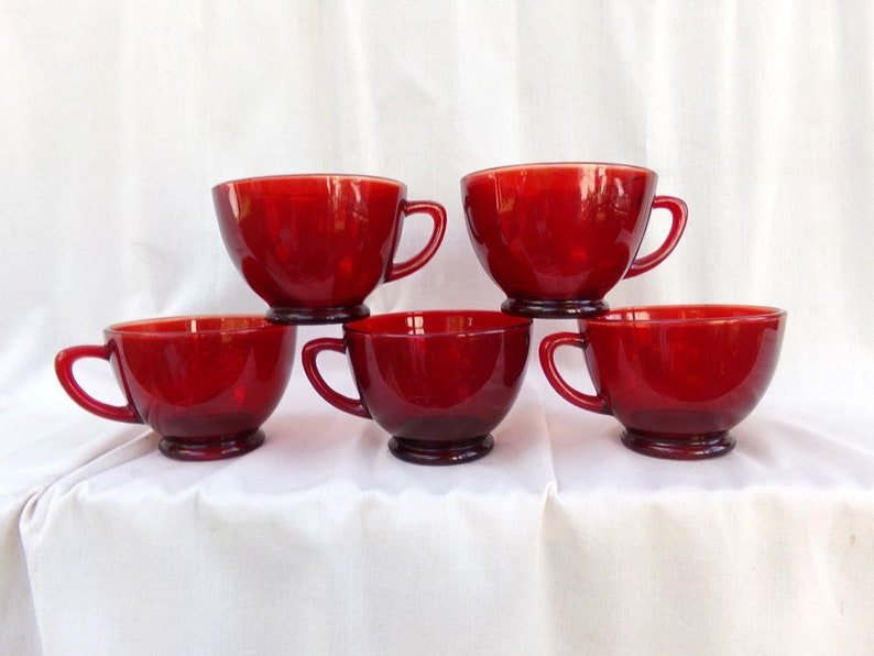 f571bec9ead Ruby Red Coffee Cups Vintage Red Glass Set Of 5 Tea Cups Or | Etsy