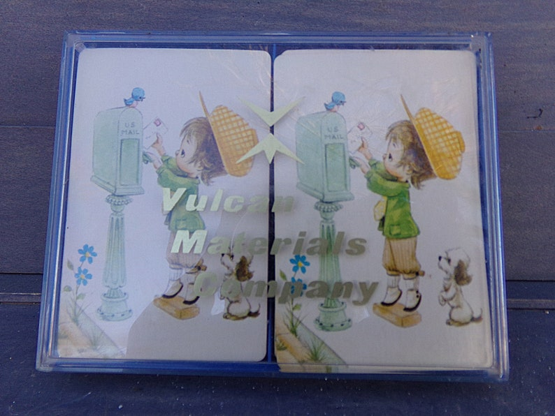 Vulcan Materials Company Two Complete Sets Including Jokers, 1970s Advertising Playing Cards Playing Card Set Plastic Container