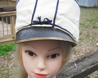 Vintage Marching Band Hat, White and Navy Blue, Brass Trim On Navy Brim, Extremely Worn, Possible 1930s or 1940s, Marching Band Hat,