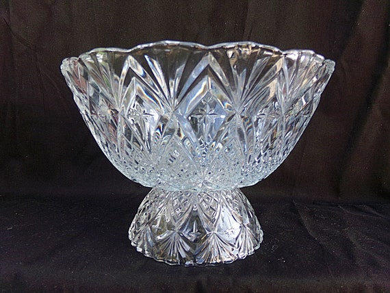 Crystal dish footed trifle style bowl pineapple design etsy