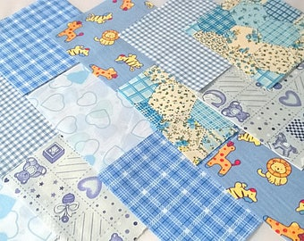 """40 x Baby Boy 5"""" Fabric Patchwork Squares Pieces Charm Pack"""