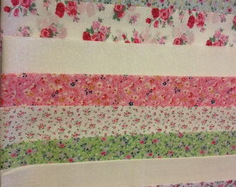 10 x Vintage Floral Fabric Jelly Roll Strips Polycotton Patchwork Quilting