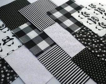 """30 x Black and white Panda 5"""" Fabric Patchwork Squares Pieces Charm Pack"""