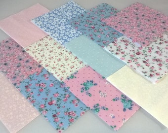 """30 x Baby Molly Floral 5"""" Fabric Patchwork Squares Pieces Charm Pack"""