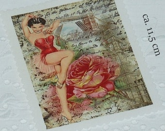Patches Patch Application Fabric Image French Dancing Queen Ballerina Paris Collage Vintage No.1