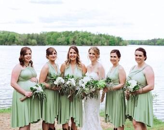 43af4c3241a TDY Sage green Short Asymmetrical Bridesmaid Dress Convertible Dress  Infinity Dress Multiway Garden Wedding Dress (Regular   Plus Size)