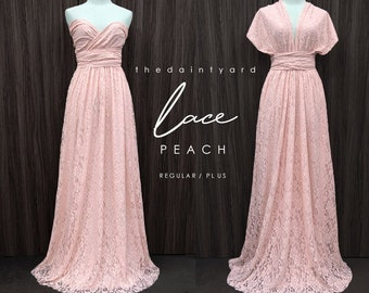 edc22460c09d12 TDY LACE Maxi Bridesmaid infinity dress Convertible dress Multiway Twist  Wrap dress in Peach (Regular and Plus size)