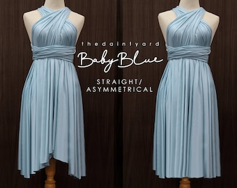 c043b4dedbe TDY Baby Blue Short Asymmetrical Bridesmaid Dress Convertible Dress  Infinity Dress Multiway Wedding Cocktail Dress (Regular   Plus Size)