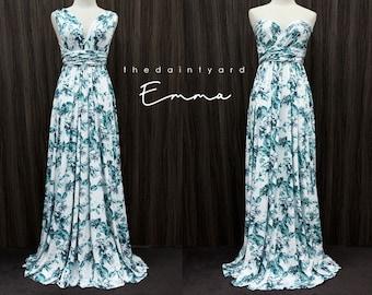 TDY Emma Maxi Floral Infinity Dress Convertible Dress Multiway Dress Long Ball Gown Wrap Dress Summer Green Floral Bridesmaid Dress