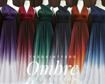TDY Ombre Bridesmaid Maxi infinity dress / Multiway Dress / Convertible wrap dress WITH Ombre Chiffon Overlay Skirt (Regular / Plus size)