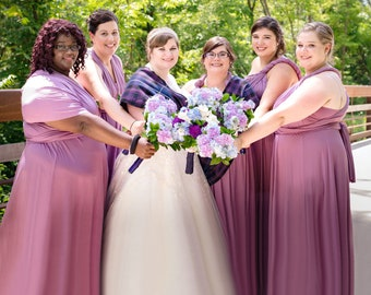 TDY Plus Size Maxi Bridesmaid  infinity dress / Multiway Dress / Long Ball Gown Convertible Wrap dress (Plus size)