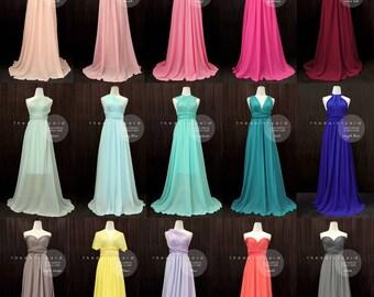 THEDAINTYARD TDY Bridesmaid Maxi infinity dress / Multiway Dress / Long convertible wrap dress WITH Chiffon Overlay Skirt (Regular size)