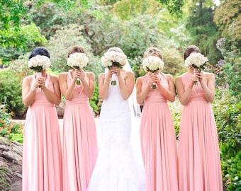 TDY Blush Maxi / Short Bridesmaid Convertible Infinity Multiway Dress Wrap Dress Long Ball Gown Floor Length Dress (Regular & Plus Size)