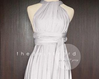 c7a8448e55b TDY Light Gray Short Asymmetrical Bridesmaid Dress Convertible Dress  Infinity Dress Multiway Wedding Cocktail Dress (Regular   Plus Size)