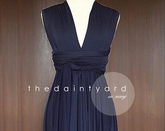 4fb74950da5 TDY Navy Blue Short Asymmetrical Bridesmaid Dress Convertible Dress  Infinity Dress Multiway Wedding Cocktail Dress (Regular   Plus Size)