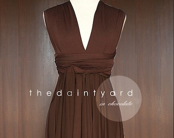 447213b9d11 TDY Chocolate Short Asymmetrical Bridesmaid Dress Convertible Dress  Infinity Dress Multiway Wedding Cocktail Dress (Regular   Plus Size)