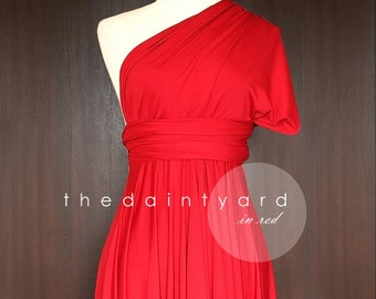 5fe25fbbbcf TDY Red Short Asymmetrical Bridesmaid Dress Convertible Dress Infinity Dress  Multiway Wedding Cocktail Prom Dress (Regular   Plus Size)