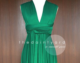 91bd45b20a5 TDY Emerald Green Short Asymmetrical Bridesmaid Dress Convertible Dress  Infinity Dress Multiway Wedding Cocktail Dress (Regular   Plus Size)