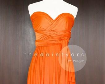 a138d232a25 TDY Orange Short Asymmetrical Bridesmaid Dress Convertible Dress Infinity  Dress Multiway Wedding Cocktail Dress (Regular   Plus Size)