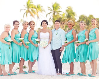 2f80f911c2 TDY Turquoise Short Asymmetrical Bridesmaid Dress Convertible Dress  Infinity Dress Multiway Wedding Beach Dress (Regular & Plus Size)
