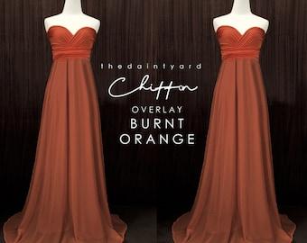 7fb3020ce5d9 TDY Burnt orange Chiffon Overlay Skirt for Maxi Long Convertible Dress    Infinity Dress   Wrap Dress   Bridesmaid Autumn Dress