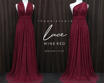 13d3f7767398f8 TDY LACE Maxi Bridesmaid infinity dress Convertible dress Multiway Twist  Wrap dress in Wine red (Regular and Plus size)