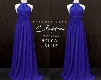 040cb14e4f002 TDY Royal Blue Chiffon Overlay Skirt for Maxi Long Convertible Dress /  Infinity Dress / Wrap Dress / Bridesmaid Multiway Dress