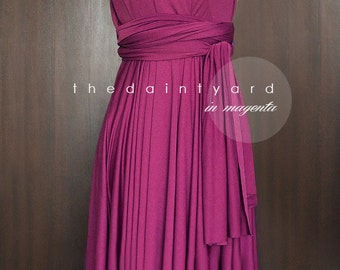134d6fabe1c TDY Magenta Short Asymmetrical Bridesmaid Dress Convertible Dress Infinity  Dress Multiway Wedding Cocktail Dress (Regular   Plus Size)