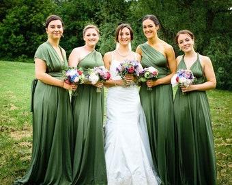 abeb3b132b TDY Olive Maxi Infinity Dress Bridesmaid Dress Convertible Dress Multiway  Dress Green Long Gown Prom Dress Wrap Dress (Regular & Plus Size)