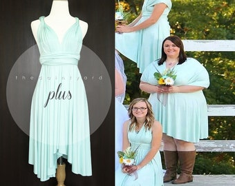 3b18baf6c6 SAMPLE SALE - Last piece! available for Short asymmetrical hem infinity  Bridesmaid convertible dress in Mint Plus size