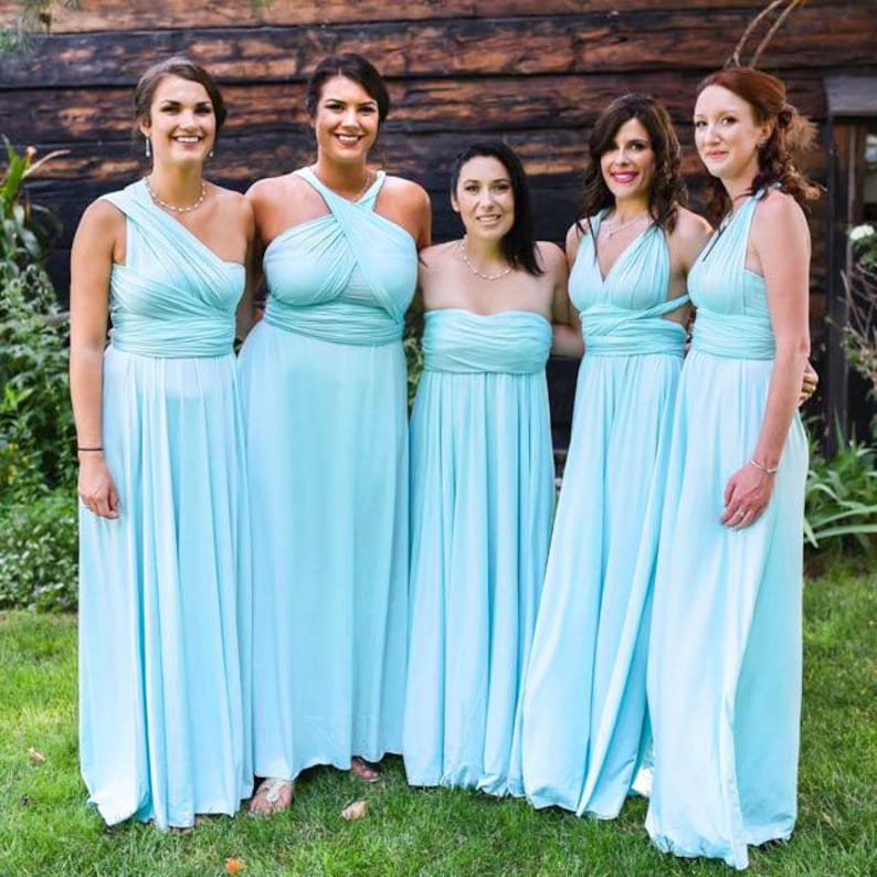 TDY Sky Blue Maxi Bridesmaid Dress Convertible Dress Infinity | Etsy