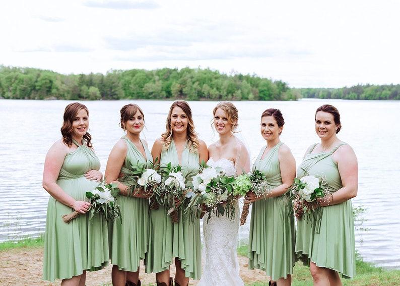 e7b91afafda TDY Sage green Short Asymmetrical Bridesmaid Dress Convertible