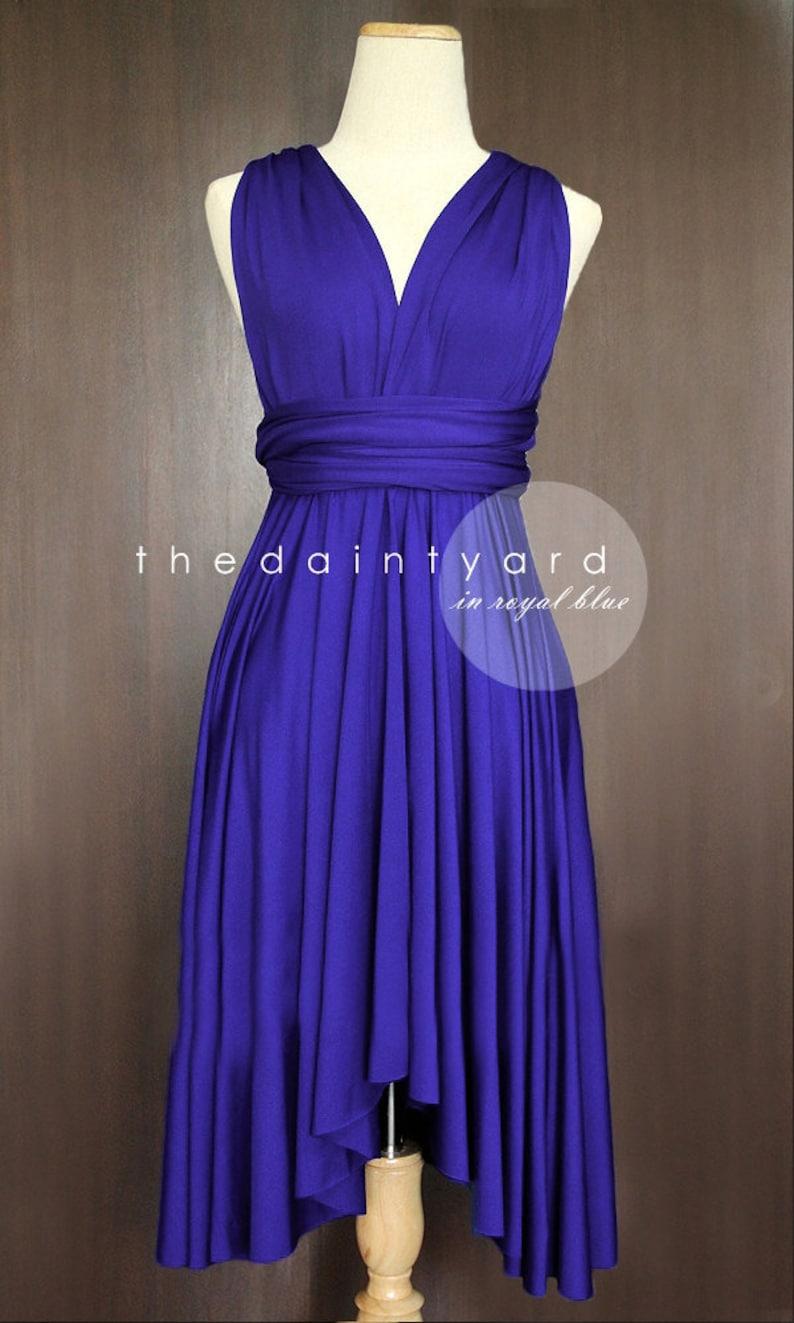 4b284c8fb20 TDY Royal Blue Short Asymmetrical Bridesmaid Dress Convertible