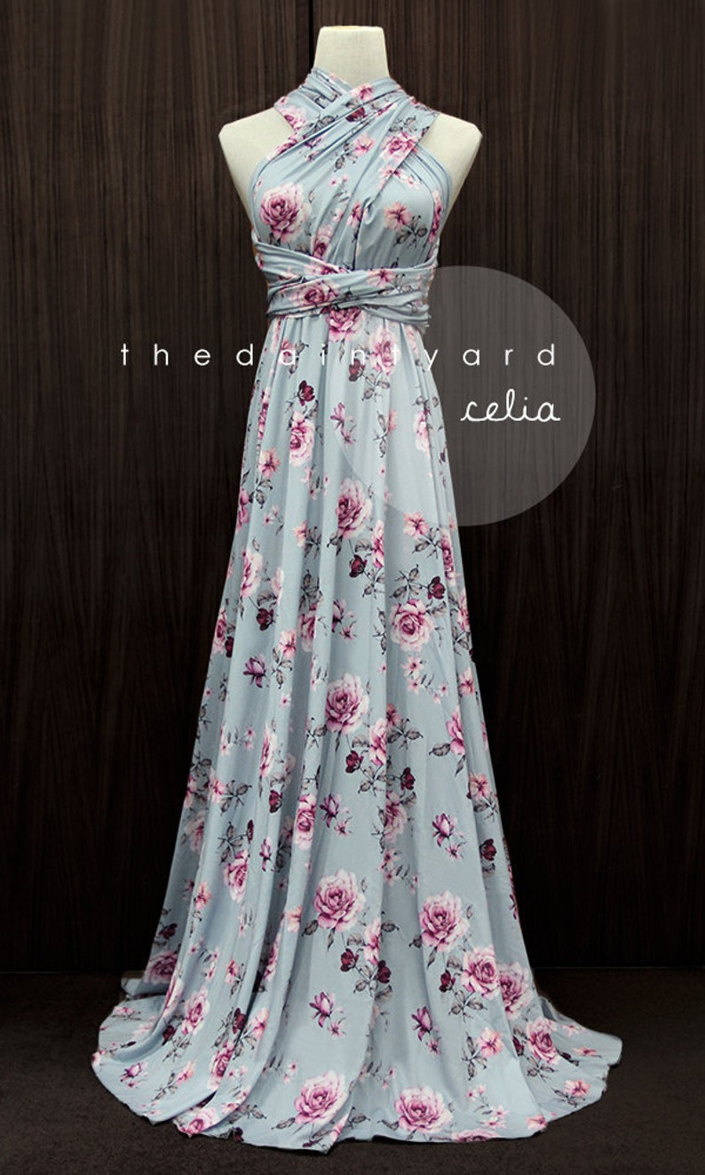 TDY Celia Maxi Floral Infinity Dress Convertible Dress Multiway Dress Long Ball Gown Wrap Dress Summer Floral Bridesmaid Dress