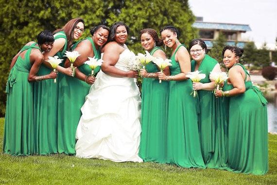 TDY Plus Size Emerald Green Maxi Bridesmaid Dress Convertible Dress  Infinity Dress Multiway Dress Twist Wrap Dress Prom Dress (Plus Size)